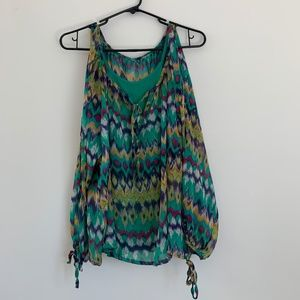 Summer Green Printed Sleeveless Blouse (NEW)
